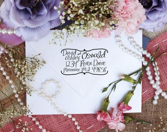Personalized Custom Return Address Rubber Stamp, Wood Block, Clear Block, Fancy Hand Script Address Stamper, Self Inking, Ink Pad --2223