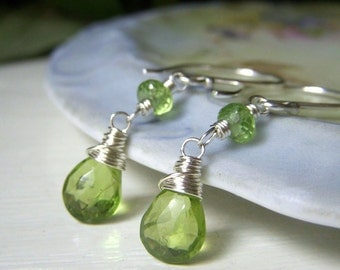 Genuine Peridot Earrings, Sterling Silver Dangle, August Birthstone Earrings, Green Gemstone Briolette, Wirewrapped Dangle Teardrop Gemstone