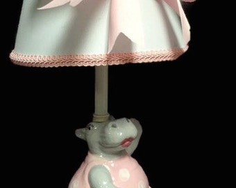 Ballerina Hippo Lamp - Ballerina Decor - Ballet Room - Children's Lamp