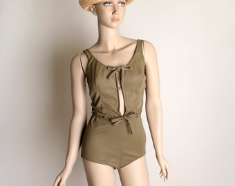 Vintage 1960s Bathing Suit - Olive Brown Open Front Belted Pin-Up One Piece Maillot - Small