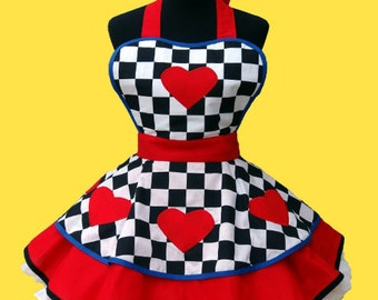 Apron - Queen of Hearts Costume Apron - Womens Apron costume apron  MADE TO ORDER