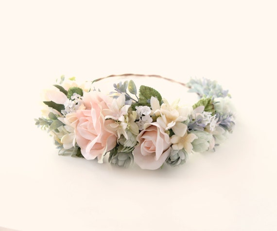 Pink flower hair wreath, Floral bridal crown, Pink and ivory circlet, Bridal hair wreath, Whimsical wedding accessory, Pastel pink and sage
