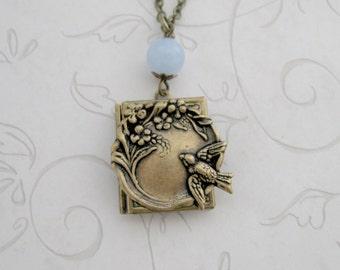 Bird locket necklace, blue jade bead, bird jewelry, gift for her, black friday, brass chain, bird necklace, nature jewelry