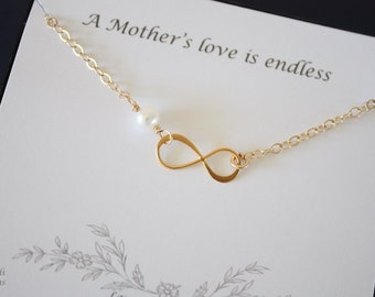 Gold Infinity Mother Necklace, Mother Gift, Infinite Necklace, Eternity Jewelry, White Pearl, Gold Necklace, Mother to be, Thank You Card