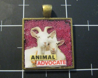 "Animals Have Feelings, Too Series: Goats Pendant, ""Animal Advocate"", 50% goes to the charity of the month"