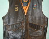 Harley Davidson Distressed Brown Leather Billing Rumble Vest XL, Lone Star Rally, Galveston, Ruidoso, HOG, Distressed Heavy Leather