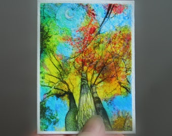art,Aceo original, Autumn moon, mixed media photograph, tree art, tree aceo, Fall trees, miniature art, little gifts