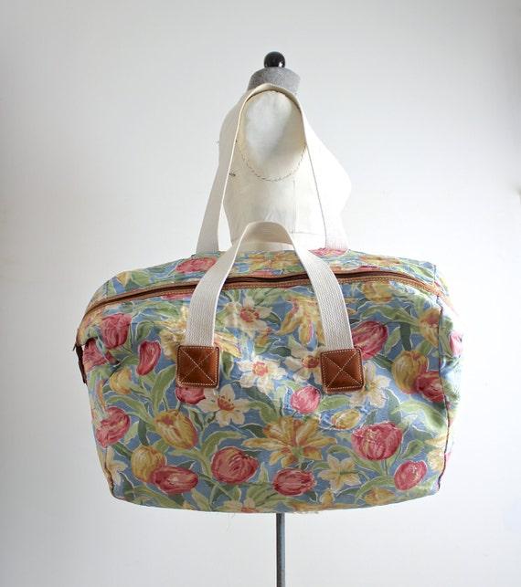 Vintage Laura Ashley Bag Floral Duffel Bag Chintz Floral