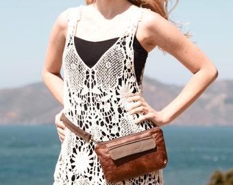 Fanny Pack, Leather Hip Bag, Hip Bag, Bum Bag, Waist Bag, Belt Bag, Boho Chic Style, Traveler in Chestnut Brown Leather