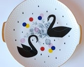 SUMMER SALE! Very large cake/serving plate platter Black swans, dots and raindrops