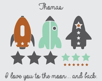 Rocket Ships and Stars with I love you to the moon and back Quote with Custom Name Vinyl Wall Decal Kit