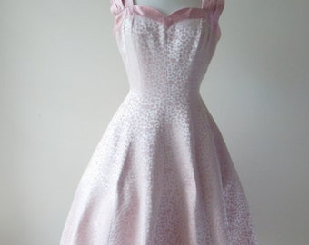 Tiny bubbles dress | vintage 1950s dress • 50s pink party dress