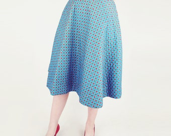 50s Quilted Cotton Full Skirt - Aqua Blue Foulard Print 26""