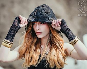 LACE CUFFS - Gloves Arm Wrist warmers - Hippie Bohemian Steampunk Boho Rock Lolita Burning Man - Black