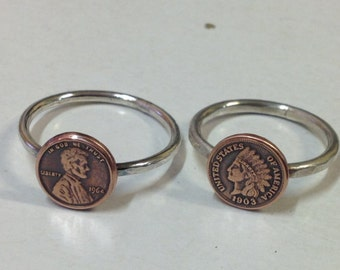 Penny for your thoughts lucky penny replica US Penny Copper and Sterlng Silver Stacking Ring unisex design