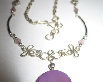 Vintage Purple Peruvian Pendant Necklace