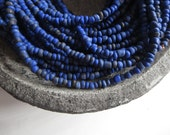 Blue seed beads, indigo blue glass beads, Small dark  organic barrel tube spacer Indonesia 1.5  to 4  mm /  44 inches  strand  - 6cb17-3