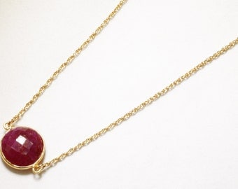 Precious Ruby Necklace 14k Gold Bezel Genuine Ruby Necklace Real Ruby Necklace July Birthstone Ruby Jewelry BZ-N-152-Ruby/g