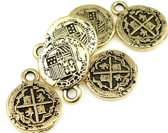 Antique Gold Charms Pirate Treasure Charms Spanish Coins Doubloon Charms TierraCast Pieces of Eight Pewter Charms  (P738)