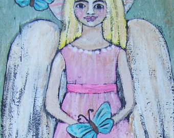 Folk Art Angel Painting Original Primitive Rustic FREE SHIPPING