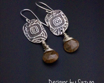 Lightweight Dangle earrings, silver earrings, AAA+ gold rutile quartz, brown gold stones, wire wrapped, designs by suzyn
