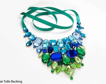 Blue and Green Rhinestone Bib Necklace, Blue and Green Statement Necklace, Mermaid Bib Necklace, Green and Blue Jeweled Statement Necklace