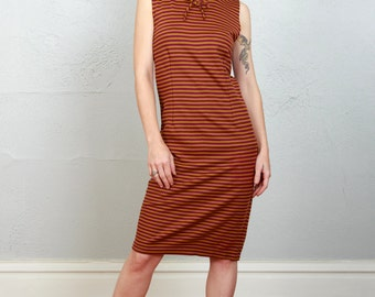 SALE - Striped Shift Dress . 1970s Sheath