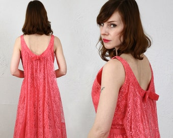 SALE- Fuschia Chantilly Lace Dress . 1960s