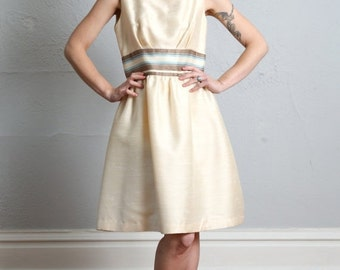 SALE- 1960 Ivory Dress Striped Waist