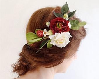 wedding hair piece, burgundy red hair accessory, bridal hairpiece, red hair clip, bridal hair comb, rustic wedding, dark red flower