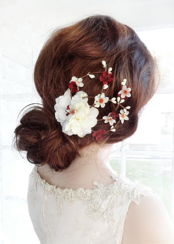 Bridal Hair Comb Burgundy Flower Hair Clip Fall By Thehoneycomb