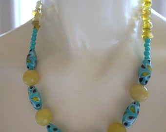 Colorful turquoise peacock lampwork glass and yellow jade beaded necklace