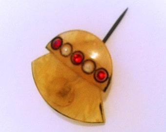 Vintage Art Deco Celluloid Hat Pin . 1920s 1930s Hat Ornament . 20s 30s Faux Pearls Rubies