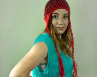 Red Ombre Balayage FadeDark to Light Ear Flap Hat