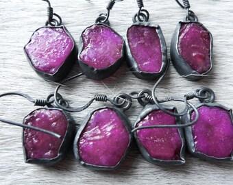 SALE Ruby earrings | Raw ruby earrings | Ruby dangle earrings | Pink stone earrings | Ruby in silver | Rough ruby earrings