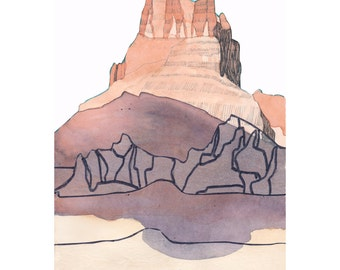 WEST 1 SEDONA (Giclée Print of Original Ink + Watercolor + Cut Paper Painting)
