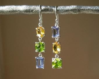 Iolite, Peridot, Citrine Earrings - Multi Gemstone Earrings - Colorful Earrings - Blue Yellow Green - Prong Set -Sterling Silver