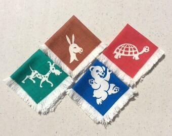 Vintage Napkins Set of 4 Children's Animals Waving Bear Prancing Dog