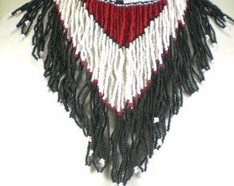 Native American Necklace - South Western Beaded Necklace - Black Red White Chevron Peyote Stitch Bib Choker Vintage Statement Jewelry