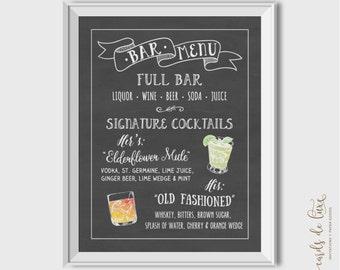 Chalkboard Menu - Bar Menu, Drinks Menu, Dinner Menu, Dessert Menu, Various Styles, Printable, Personalized Menu, Bridal Shower, Baby Shower