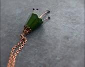 Dark Green Flower Pendant Necklace - Enameled Copper, Purple Eggplant Stamen, Garden Lover, Floral Boho Jewellery