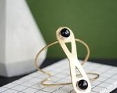 Onyx cuff, statement cuff, brass cuff, infinity, wire cuff, black // INFINITE ORBIT CUFF