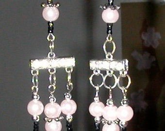 Listing ONLY for Long Dangle Earrings with Pale Pink Faux Pearls and Silver Color Vintage Costume Jewelry Findings