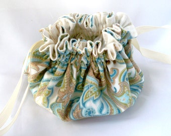 Paisley Jewelry Bag, Cream Blues Greens, Jewelry Travel Pouch, Small Drawstring Bag, Cotton Fabric