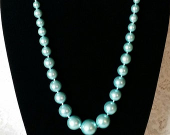 Gorgeous, Caribbean Blue, Vintage 60's, Long, Excellent, New, Old Stock, Graduated Chunky, Faux Pearls, Necklace