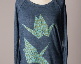 women's pullover sweatshirt, women's sweatshirt, paper cranes, origami design