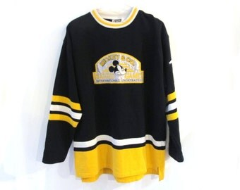 80s 90s MICKEY MOUSE & Co. Rugged Games Black Yellow Sweatshirt Jersey