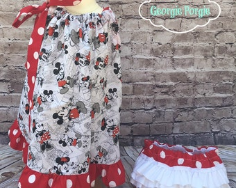 Vintage Minnie and Mickey Pillowcase Dress