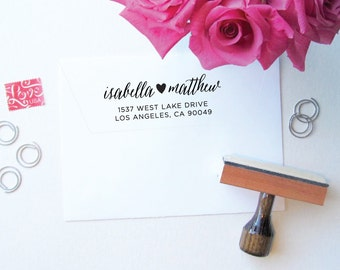 Heart Stamp - Custom Stamp with Heart Detail - Custom Stamps - Address Stamp - Calligraphy - Script