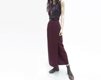 Burgundy Midi Skirt, Vintage Pencil Skirt, 90s Plum Wrap Skirt, Midi Straight Skirt, 90s Jewel Tone Skirt, 90s Revival Skirt, Small